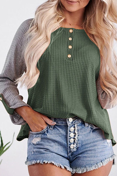 Round Neck Color Block Casual T-Shirt
