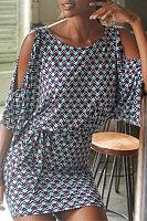 Round Neck  Wave Stripe Casual Dresses