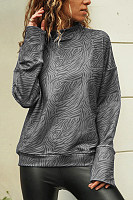 Spring High Collar Zebra-Stripe Casual Long Sleeves T Shirt