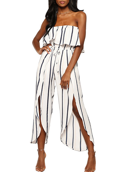 Strapless  Side Slit  Striped  Sleeveless Jumpsuits