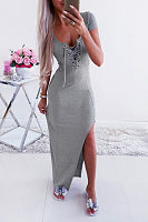 Round Neck  Lace Up  Plain  Short Sleeve Maxi Dresses