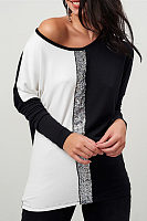 One Shoulder  Glitter  Patchwork T-Shirts