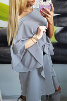 One Shoulder  Asymmetric Hem Belt Plain  Batwing Sleeve Casual Dresses