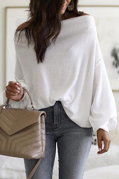 Word Collar Batwing Sleeve Plain Sweater