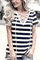 V Neck  Lace Up  Striped T-Shirts