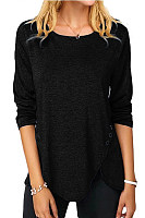 Round Neck Irregular Hem Plain T-shirt