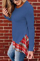 Round Neck  Gingham Patchwork T-Shirts