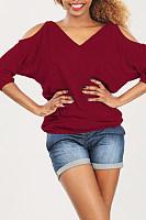 V Neck Plain Three Quarter Sleeve Shirt
