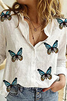 Cotton Temperament Irregular Butterfly Print Shirt