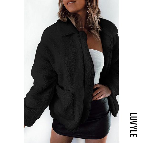 Fashion Pocket Zipper Pure Colour Fleece Outerwear