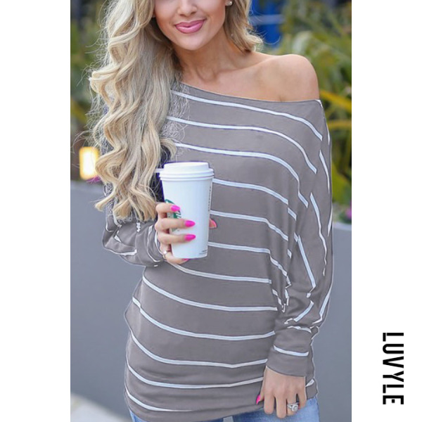 Gray One Shoulder Striped Batwing Sleeve T-Shirts Gray One Shoulder Striped Batwing Sleeve T-Shirts