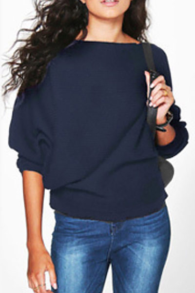 Casual Pure Colour Round Neck Long Sleeve Sweater