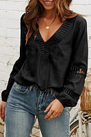 Casual V-Neck Solid Color Long-Sleeved Loose Shirts