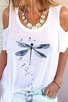 Open Shoulder Collar Dragonfly T-shirt