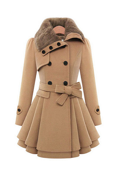 Fold Over Collar  Double Breasted Fur Collar  Belt  Patchwork Outerwear