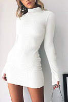 Round Neck  Plain Bodycon Dresses