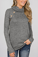 Casual solid color high collar decorative buckle female sweatershirt