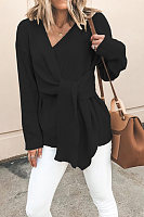 Fashio Design Pure Colour Long Sleeve V Neck Lace Up Sweater