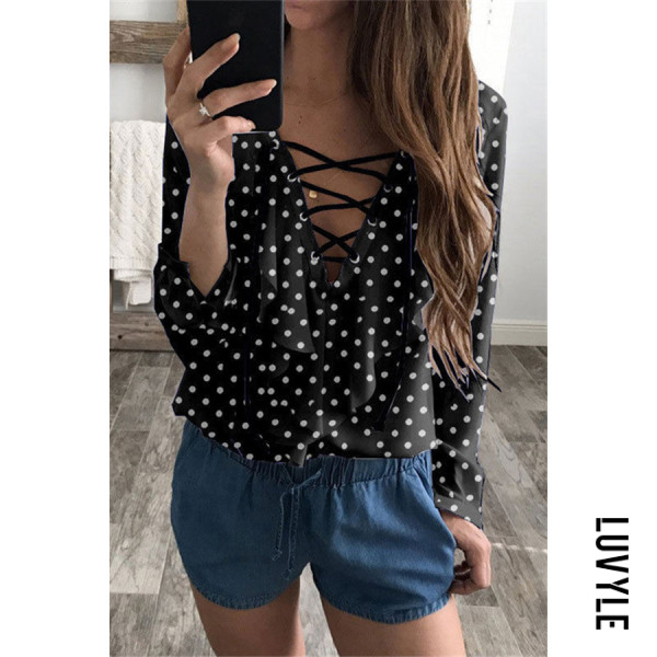 Fashion | Blouse | V-neck | Sleeve | Polka | Women | Long | Dot