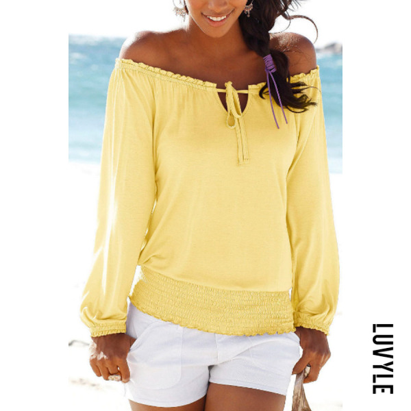 Yellow Off Shoulder Plain T-Shirts Yellow Off Shoulder Plain T-Shirts