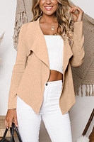 Small Lapel  Plain  Basic Cardigans