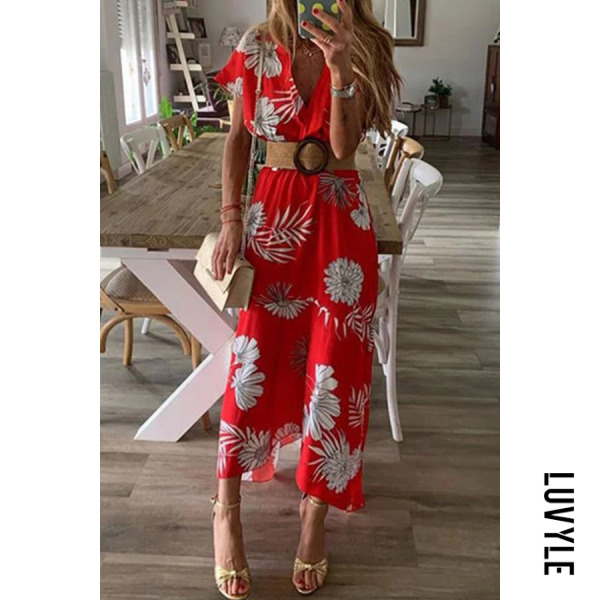 Red V Neck Floral Printed Short Sleeve Maxi Dresses Red V Neck Floral Printed Short Sleeve Maxi Dresses