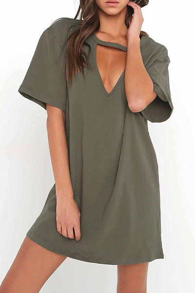 V Neck  Cutout  Plain Casual Dresses