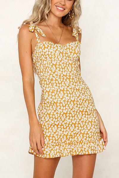 Spaghetti Strap Floral Printed  Bodycon Dresses