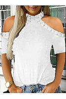 Casual Off-The-Shoulder Pearl Embellished T-Shirt