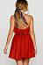 Spaghetti Strap  Backless Flounce  Plain  Sleeveless Skater Dresses