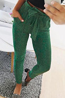 Bow  Plain  Basic  Pants
