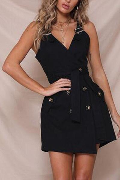 V Neck  Decorative Buttons  Plain  Sleeveless Bodycon Dresses