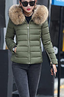 Faux Fur Collar Hooded  Zipper  Plain Outerwear