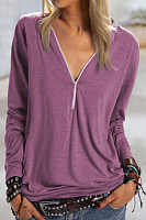 Zip V Neck Solid Color T-shirt