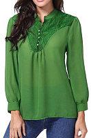 Tachibana  Patchwork  England Style  Lace Plain  Long Sleeve  Blouses