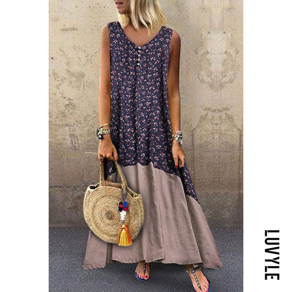 Blue V Neck Patchwork Sleeveless Maxi Dresses Blue V Neck Patchwork Sleeveless Maxi Dresses