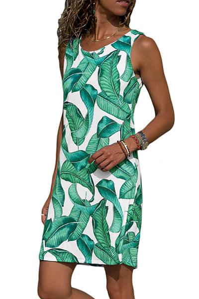 Round Neck  Print Bodycon Dresses