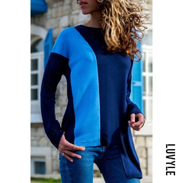 Blue Round Neck Asymmetric Hem Patchwork T-Shirts Blue Round Neck Asymmetric Hem Patchwork T-Shirts