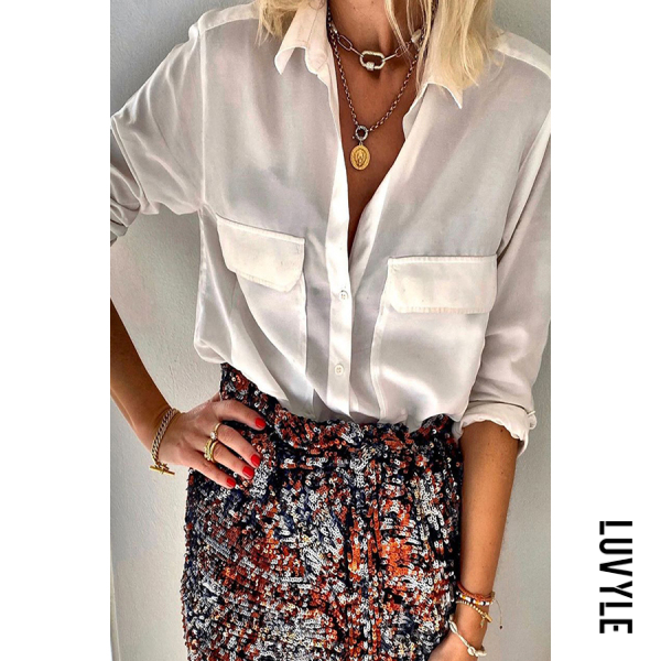 Women's simple lapel loose long-sleeved shirt - from $27.00