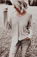 Fashion Brief Pure Colour Long Sleeve Loose Sweater
