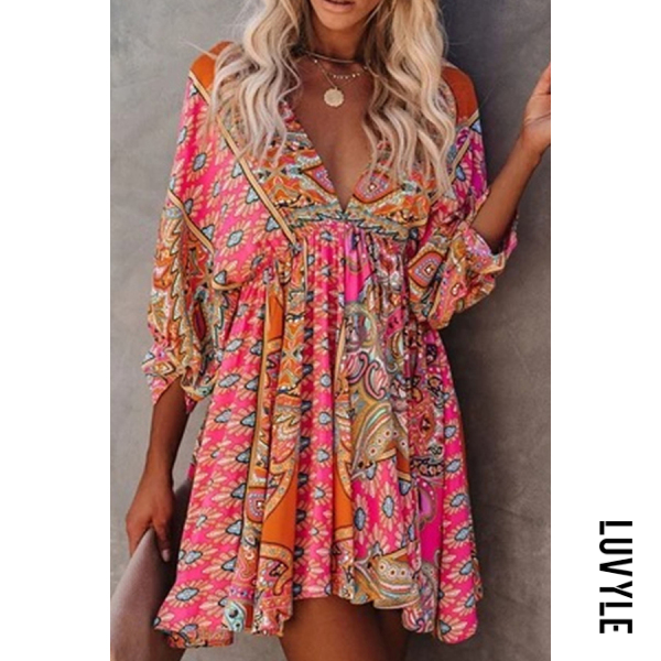 Casual V-neck Waist Printed Dress