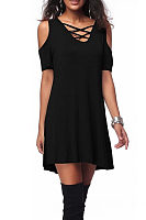 Open Shoulder V Neck  Lace Up  Plain Casual Dresses