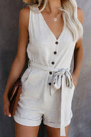 V Neck Sleeveless Single Breasted Solid Jumpsuit