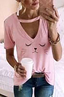 Fashion Short Sleeve Printed Colour Loose T-Shirt