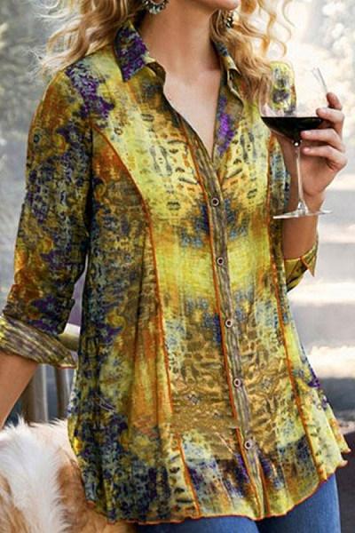 Loose Slimming Printed Long-sleeved Shirt
