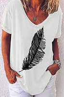 V Neck Short Sleeve Printed T-shirt