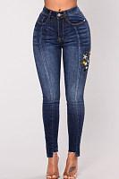 Asymmetric Hem  Printed Jeans