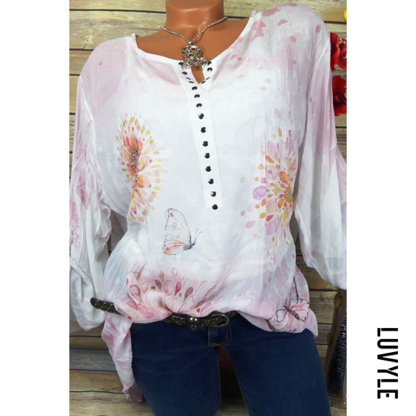 Round Neck Buttons Floral Printed Long Sleeve Blouse
