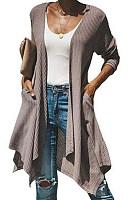 Asymmetric Hem Snap Front  Plain Cardigans