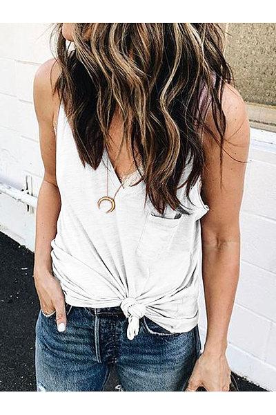 Sexy V-Neck Pocket Vest T-Shirt